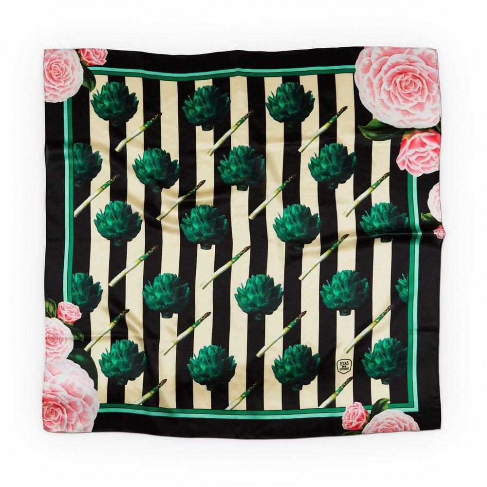 Artichokes & Roses Silk Scarf