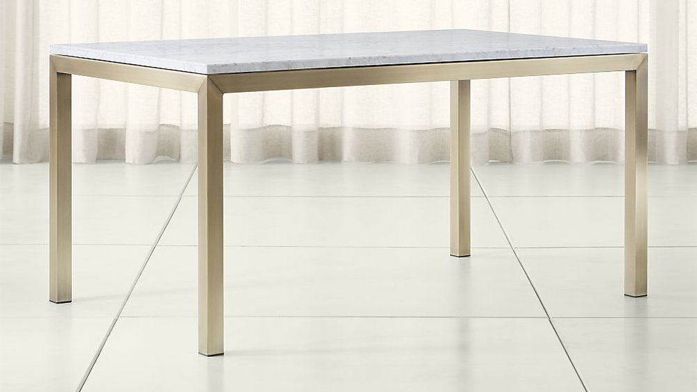Parsons White Marble Top/ Brass Base Dining Table - $1,669 - Crate&Barrel