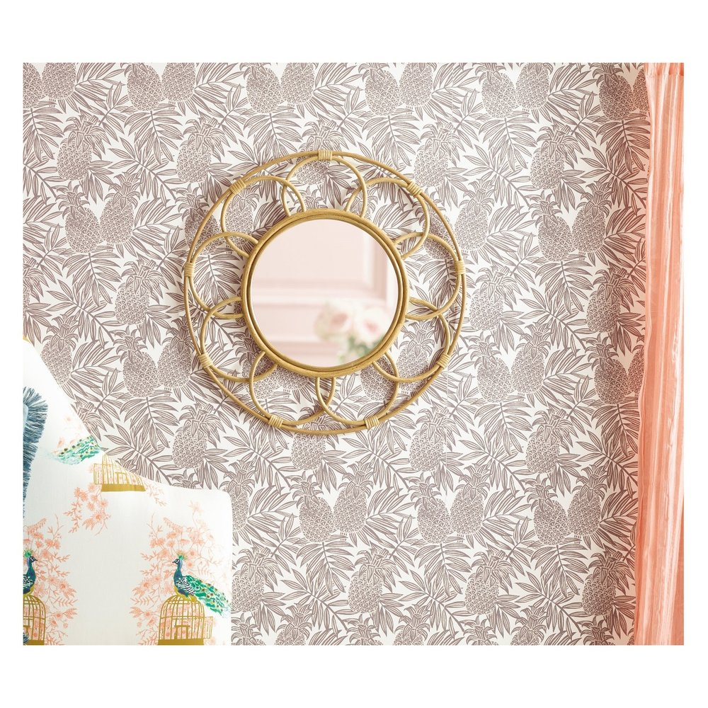 Round Rattan Mirror with Scalloped Border - $47.49