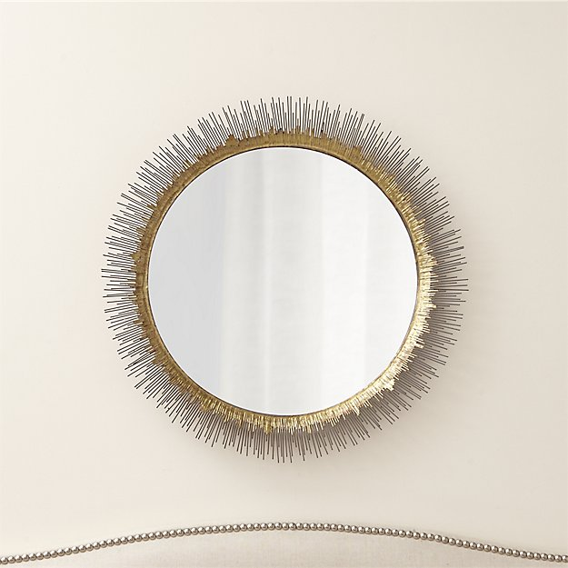 Clarendon Brass Large Round Wall Mirror - $249