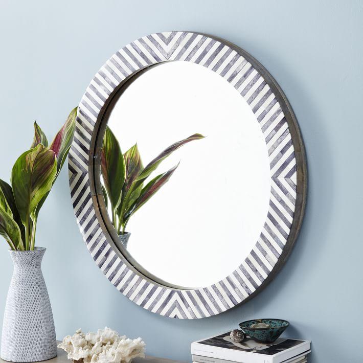Parsons Round Mirror - Herringbone - $279