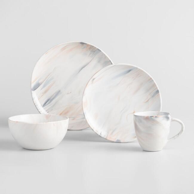 Gray & Tan Marble Dinnerware Set - World Market