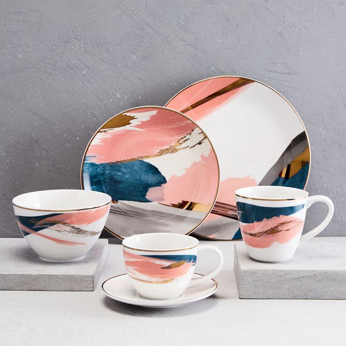 Abstract Brushstroke Dinnerware Set - West Elm