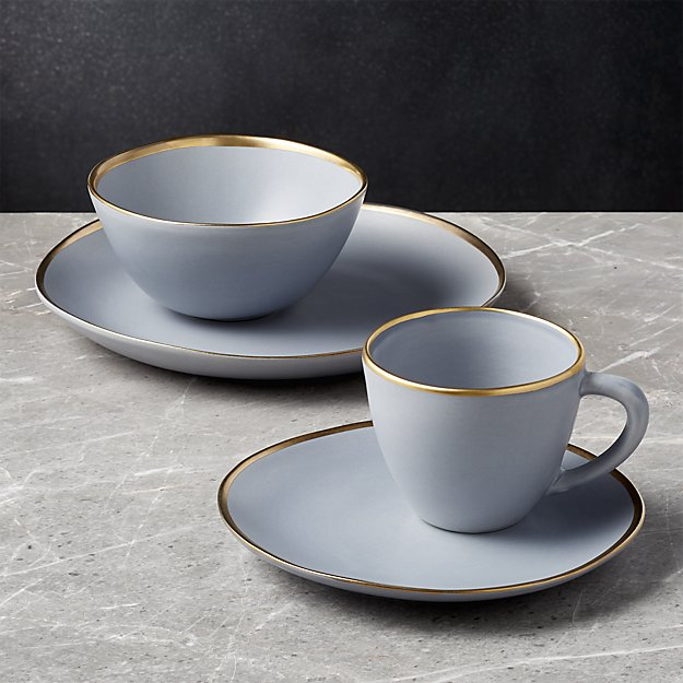Addison Grey Gold Rimmed Dinnerware Set - Crate and Barrel