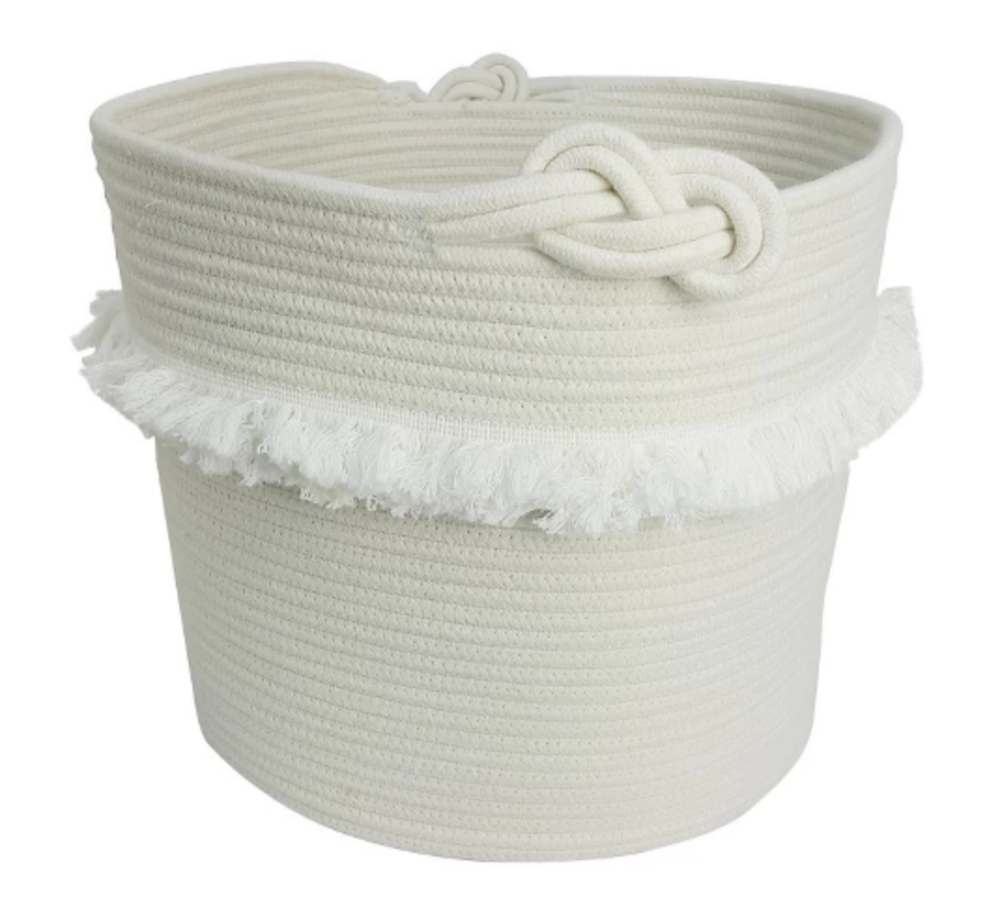White Rope Basket with Fringe - $19.99
