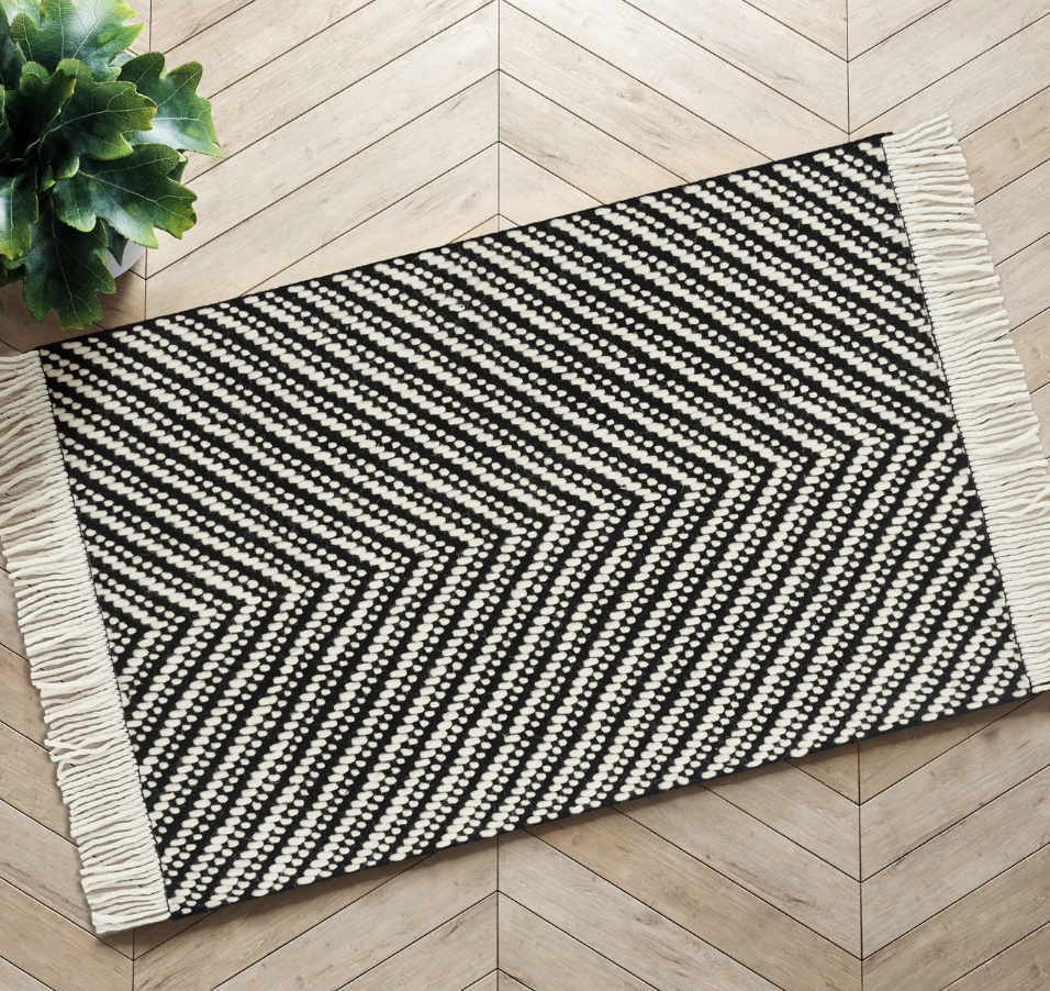 Black/White Chevron Woven Area Rug - $19.99