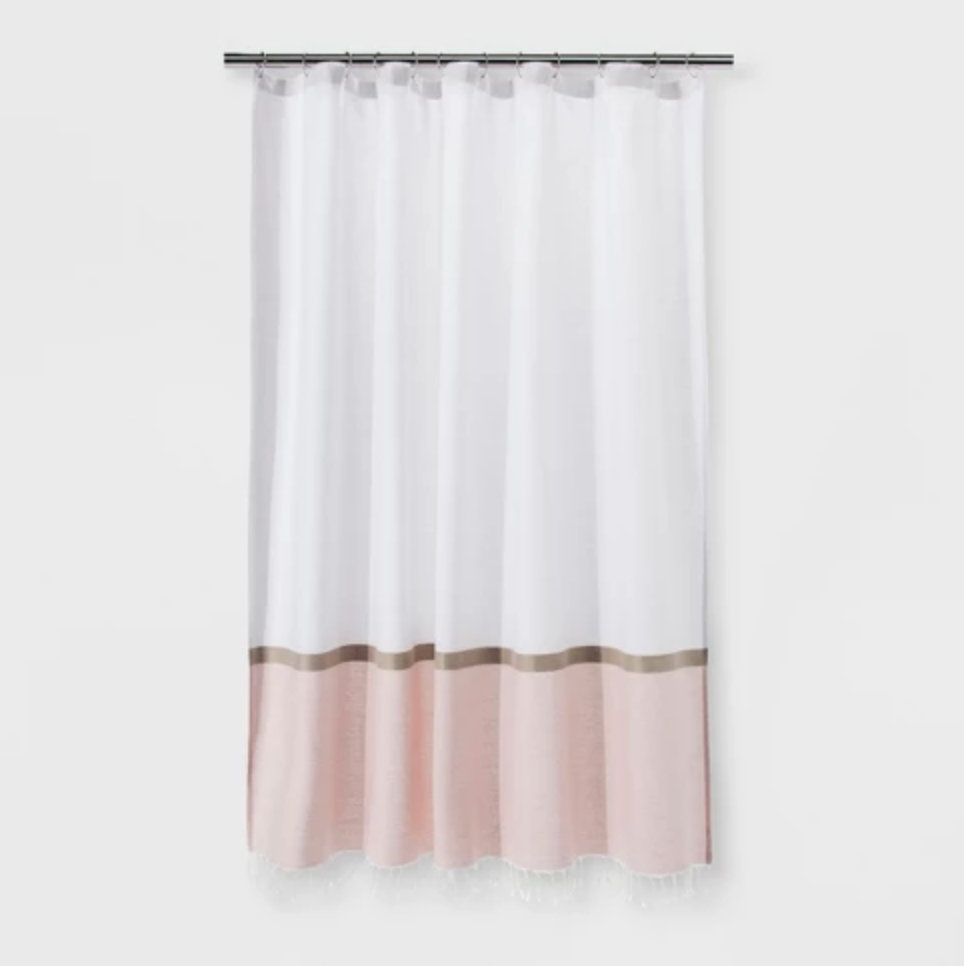 Colorblock Woven Shower Curtain - $18