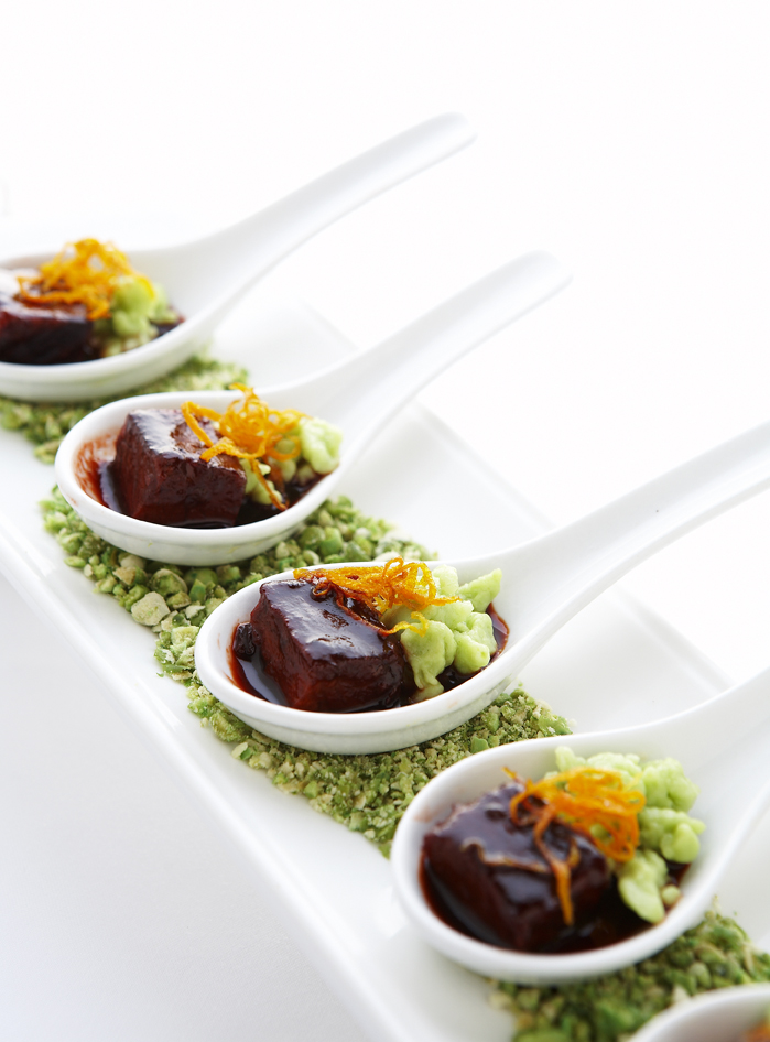 Pomegranate Glazed Spare Ribs, Wasabi Spaetzle