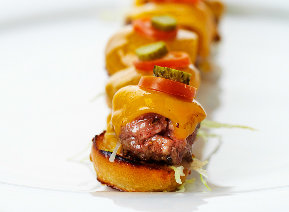 Mini Kobe Cheeseburgers with Remoulade and Aged Cheddar
