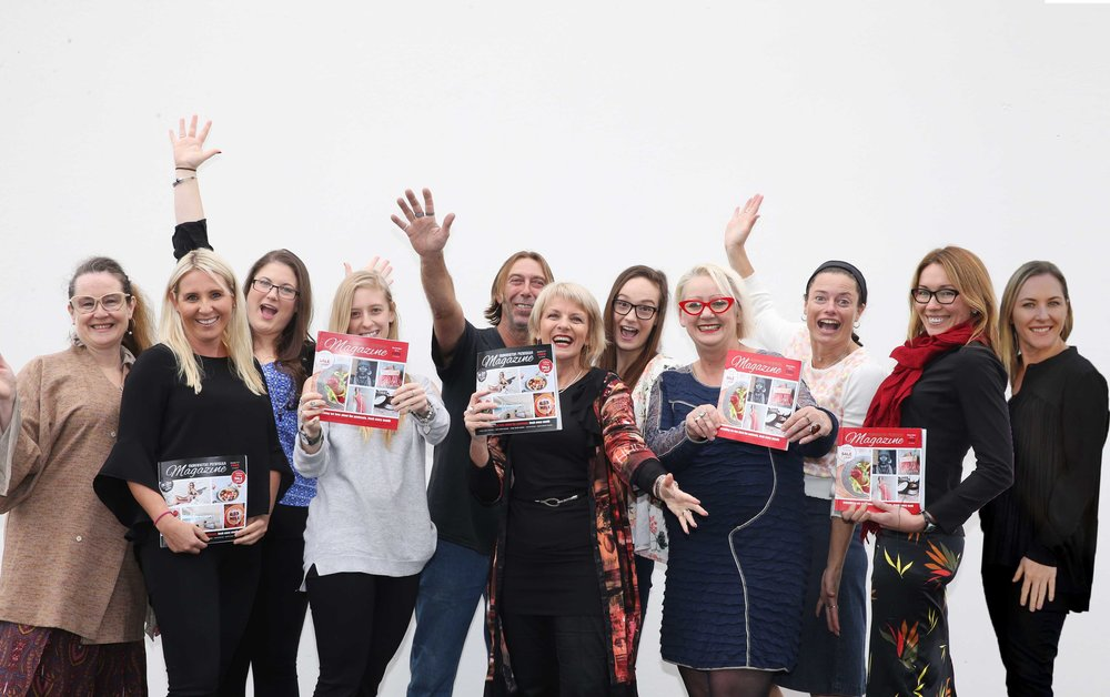The fabulous Mornington Peninsula Magazine Team! L TO R: Liz Rogers, Chendelle Kolasa, Kate Sears, Molly Mitchell, Archie, Andrea Haynes, Jasmine Ward, Lisa Walton, Tanya Fry, Andrea Kellett & Julie (Willow) Haines