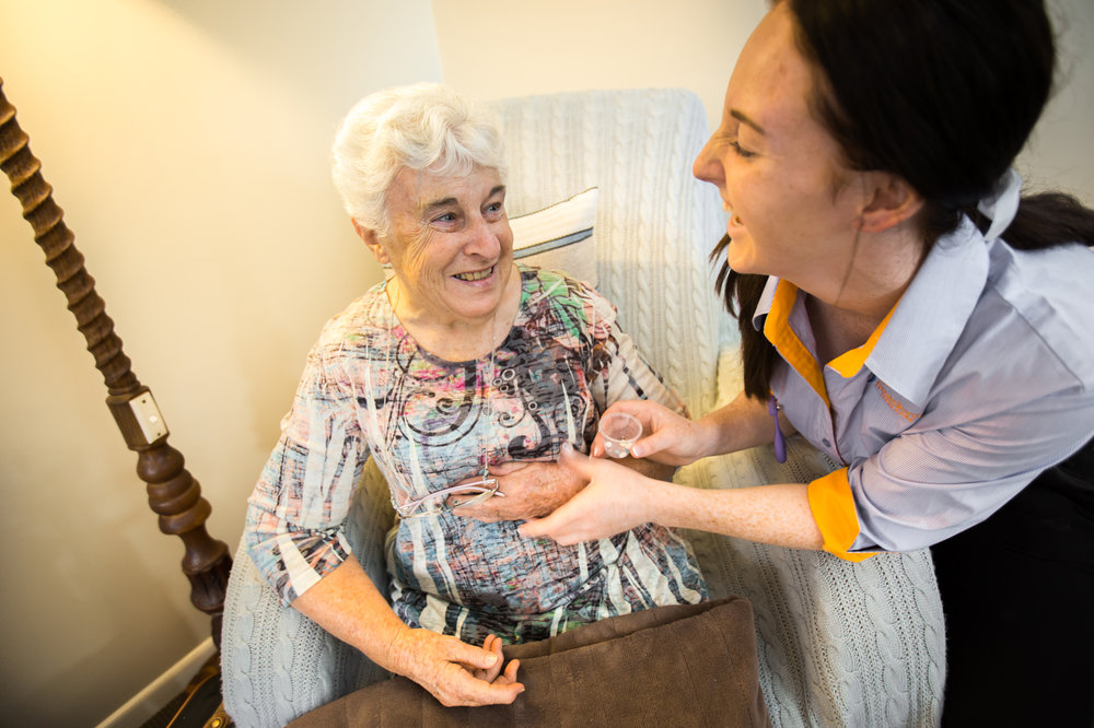 June receives the care she needs in her own unit from Freedom Aged Care personal carer Ellie.