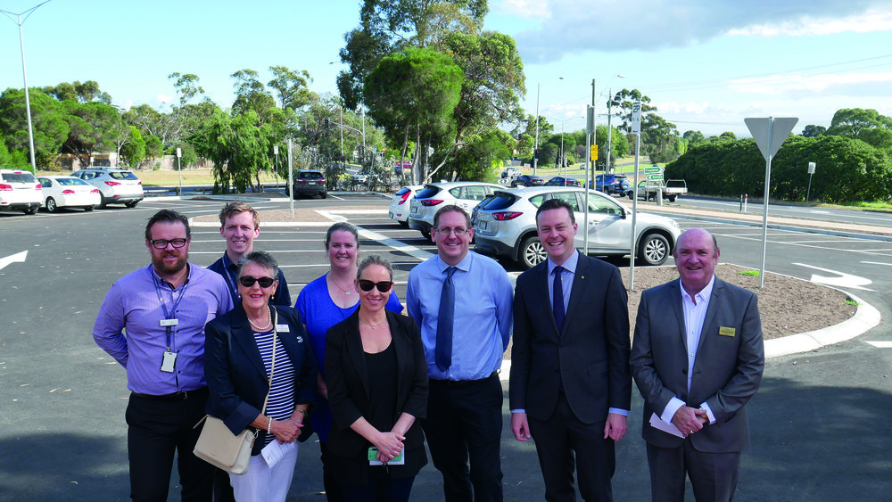 Dunkley federal Liberal MP Chris Crewther (second from right) opens the new carpark in Mount Eliza with representatives from Mornington Peninsula Shire, Mount Eliza Primary School and Room to Move. Photo: supplied