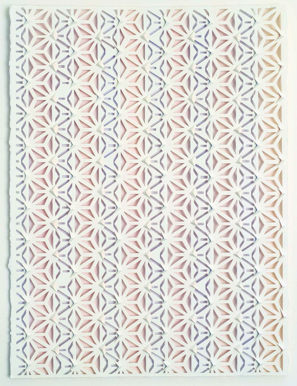Lee Bethel, Komon 2018, watercolour on hand-cut paper, 76 x 54cm. Image courtesy the artist.