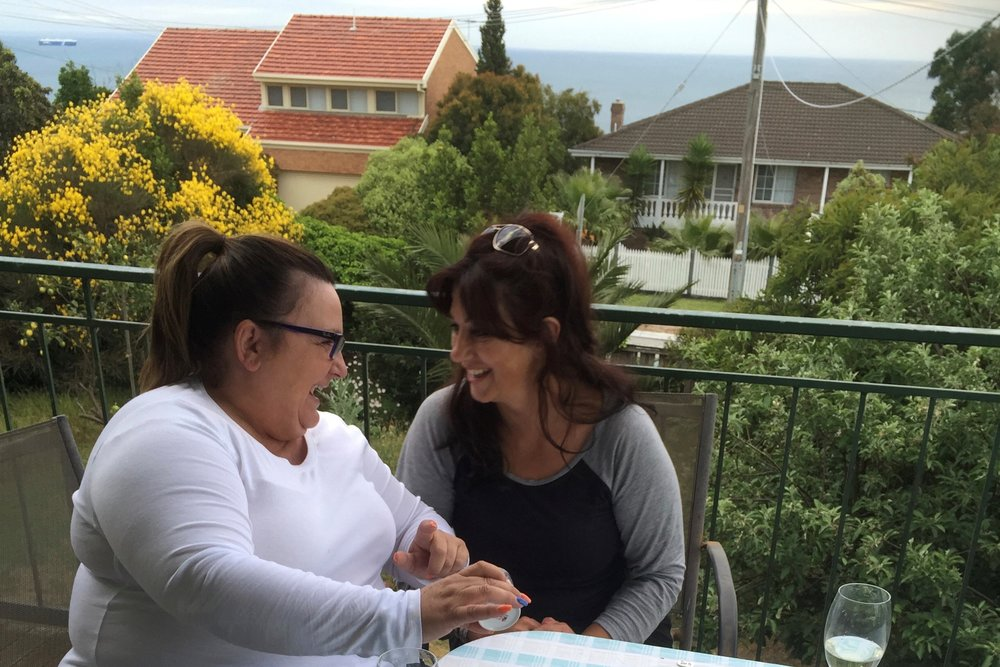Ana and Faye Balcony at Ana's families Mt Martha House.jpg