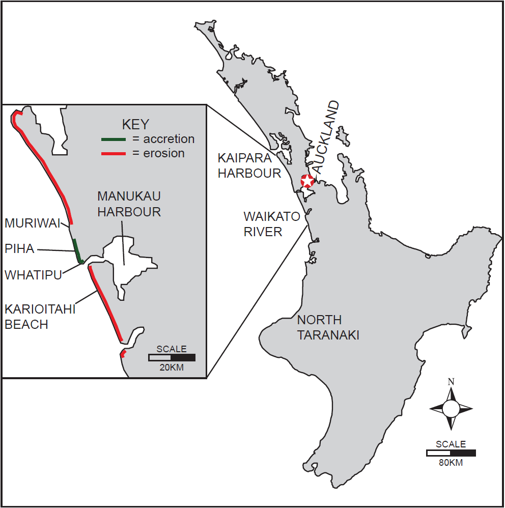 Figure 1: A map of New Zealand's North Island showing key areas of interest, with patterns of erosion and accretion around the Auckland Region highlighted, adapted from Brander et. al., 2003