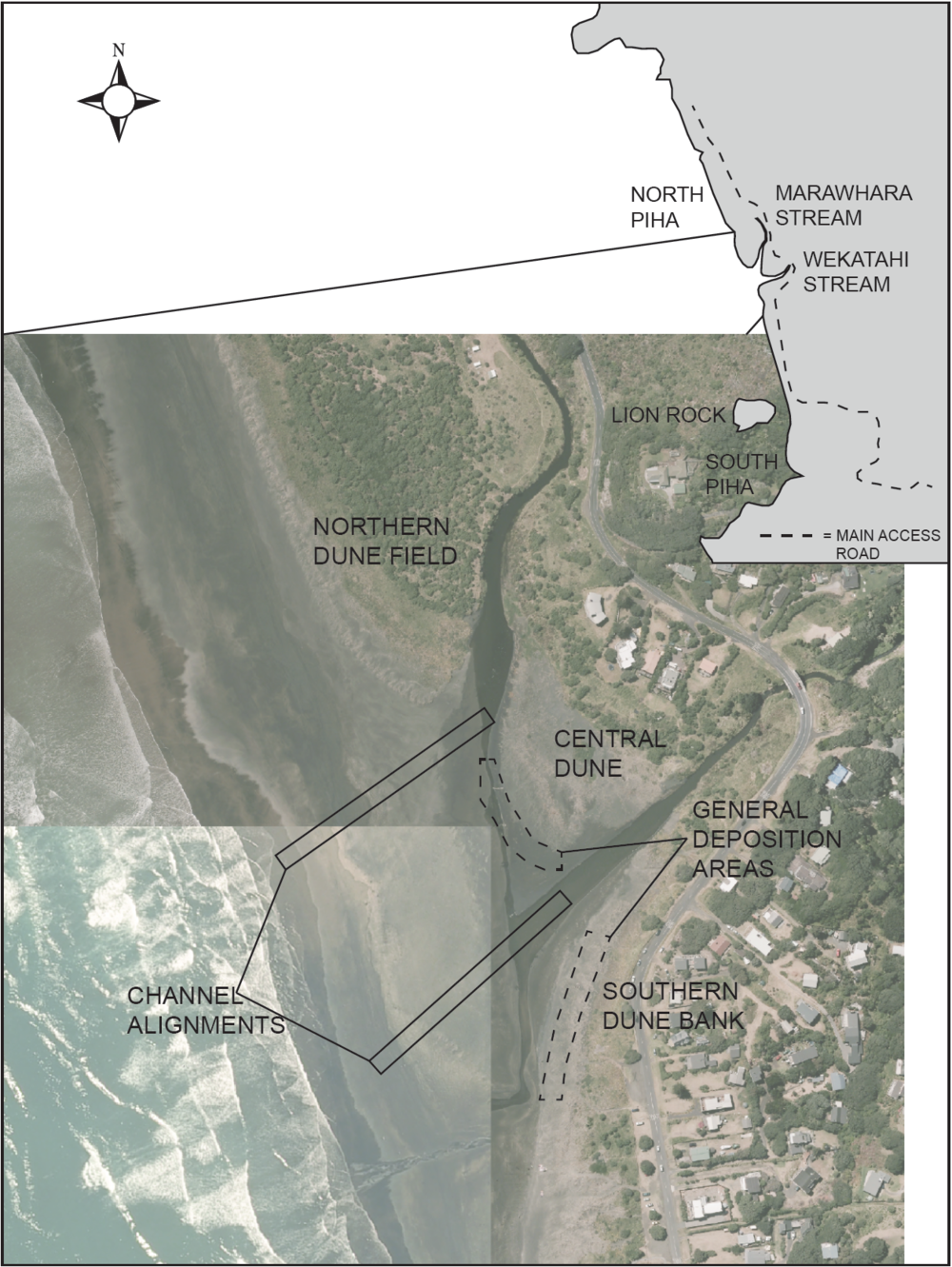 Figure 3: A map of Piha Beach showing the location of the Marawhara and Wekatahi Streams and general works plan.
