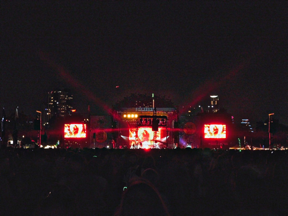 Three big video screens made it easier to see the Foo Fighters play.