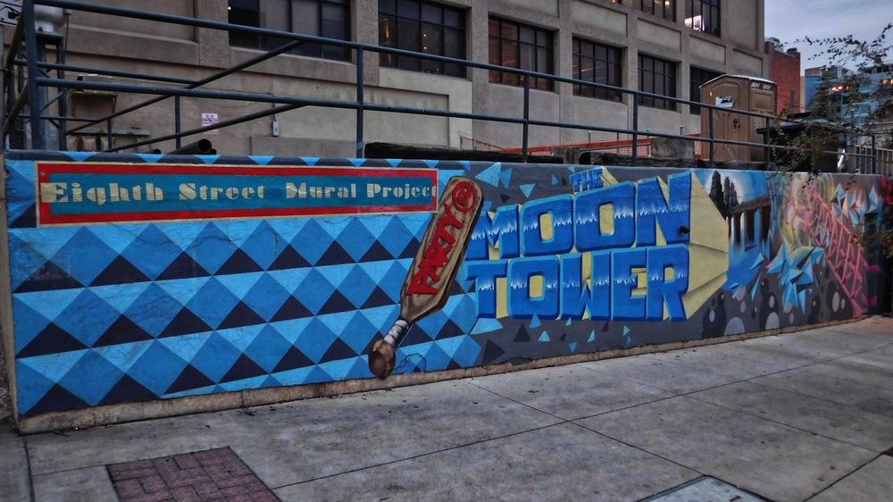 Moon Tower mural on Eighth Street near Congress Avenue.