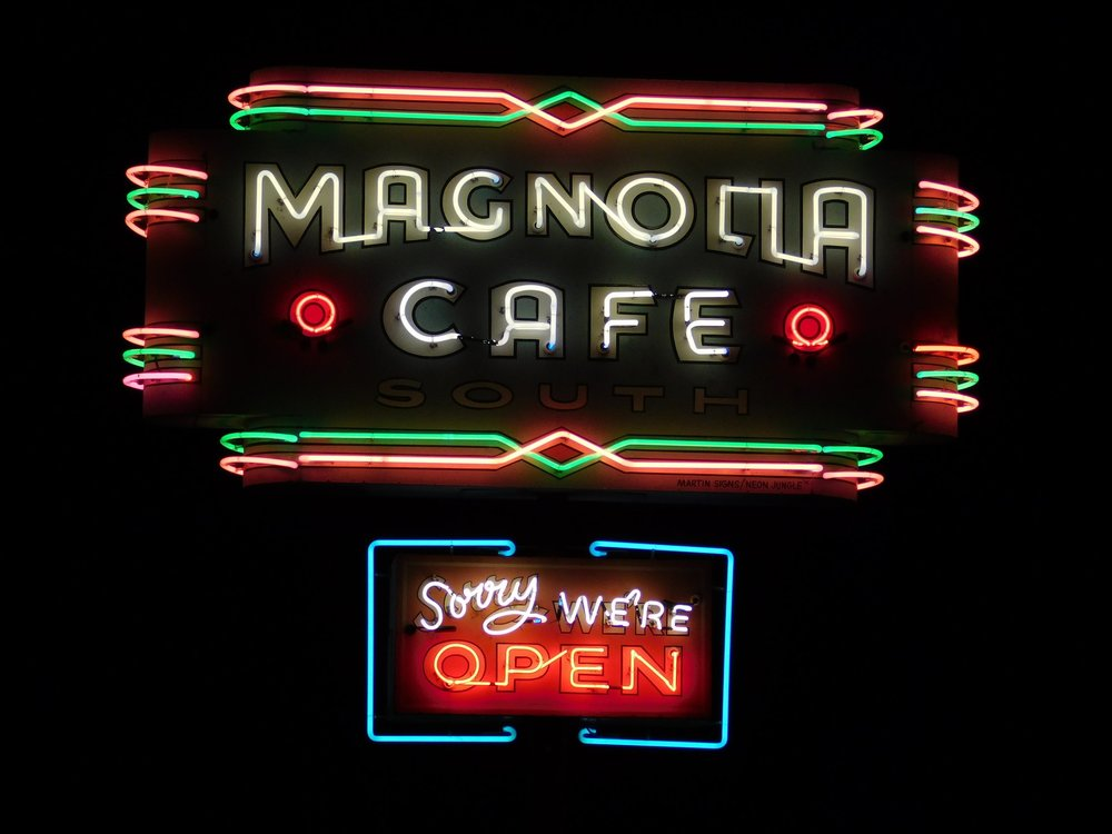 """At 1920 South Congress you'll find Magnolia Cafe, with it's very distinctive """"Sorry We're Open"""" neon sign. Magnolia has a very Austin diner vibe and seems to attract a lively crowd at all hours."""