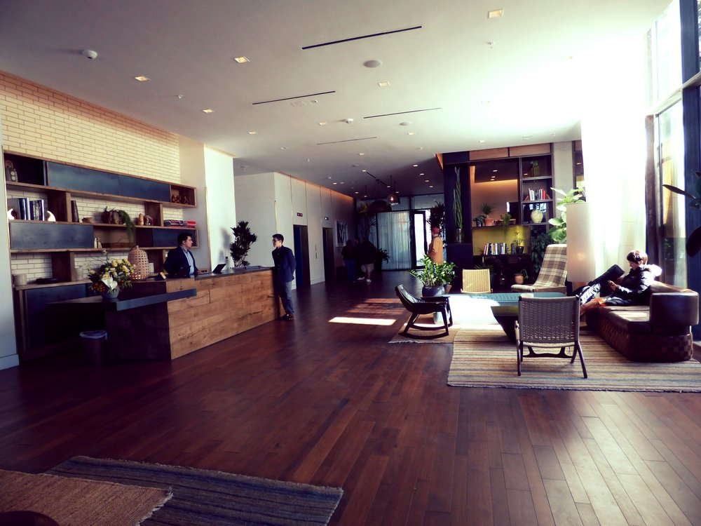 Another very recent addition to the South Congress scene is the South Congress Hotel at 1603 South Congress. Here you see the lobby, which has a modern but cozy feel. The ground floor of the hotel is home to several restaurants and shops.