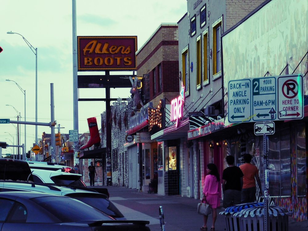 The west side of South Congress features a host of interesting shops including the very popular Allens Boots.