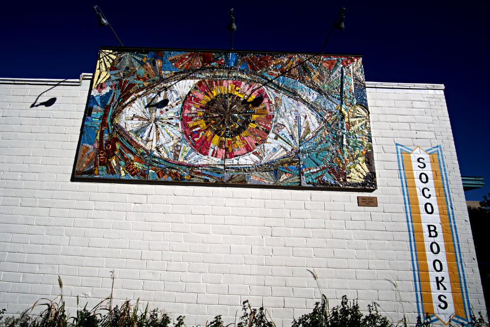 More public art on South Congress. This collage by Lance Letscher is on display at South Congress Books as of January 2017. Regardless of what piece you see there this wall often features something of interest to art lovers.