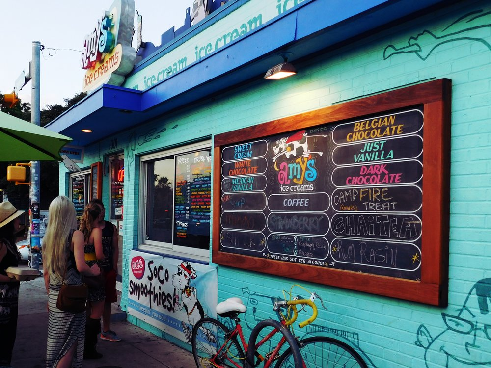 There's a lot of walking to be done on South Congress so you may just want to indulge your sweet tooth by enjoying the fun flavors at Amy's Ice Creams at 1301 South Congress. Many people do!