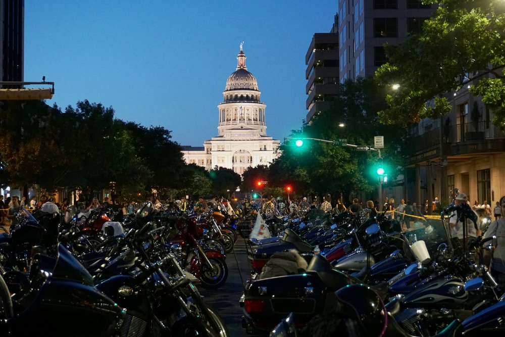 Motorcycles parked on Congress Avenue following the 2016 ROT Rally parade in downtown Austin.