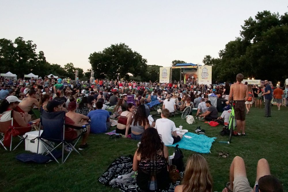 The crowd ready for the headlining act at Blues On The Green In Zilker Park.