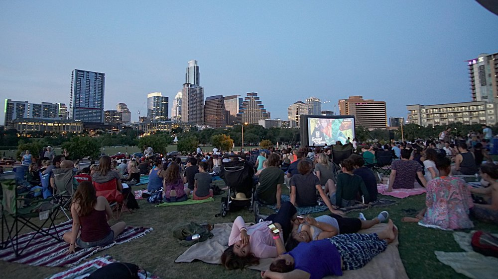 The crowd ready for a movie at Sound & Cinema with a great view of Austin too.