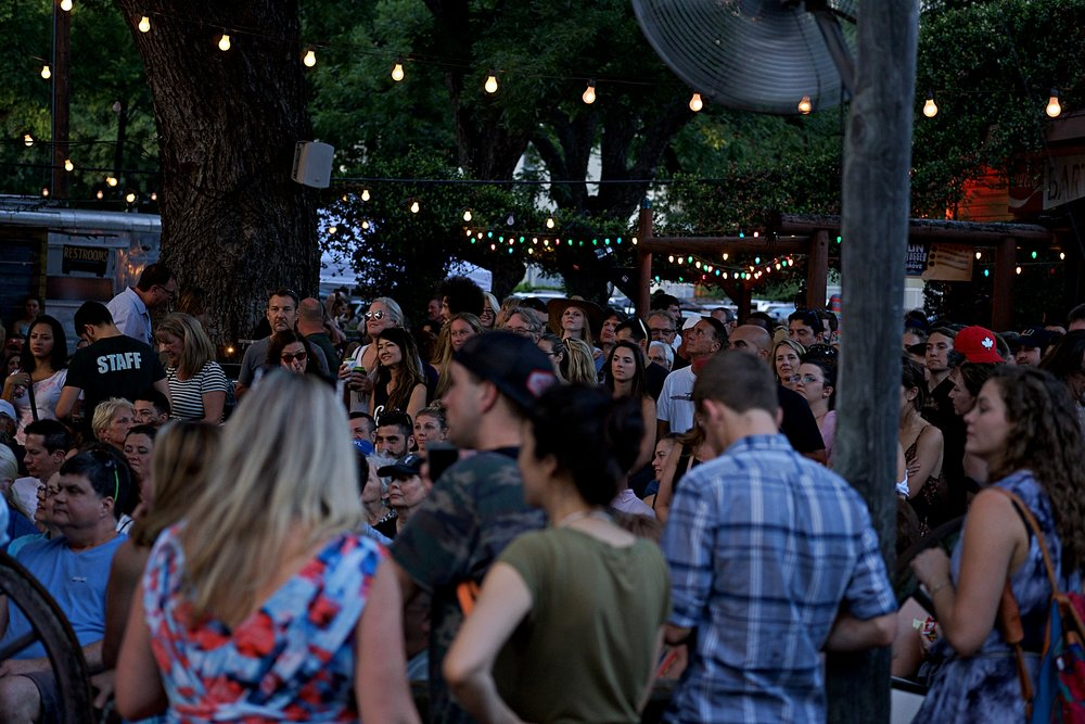 A typical large crowd at Shady Grove for KGSR Unplugged At The Grove.