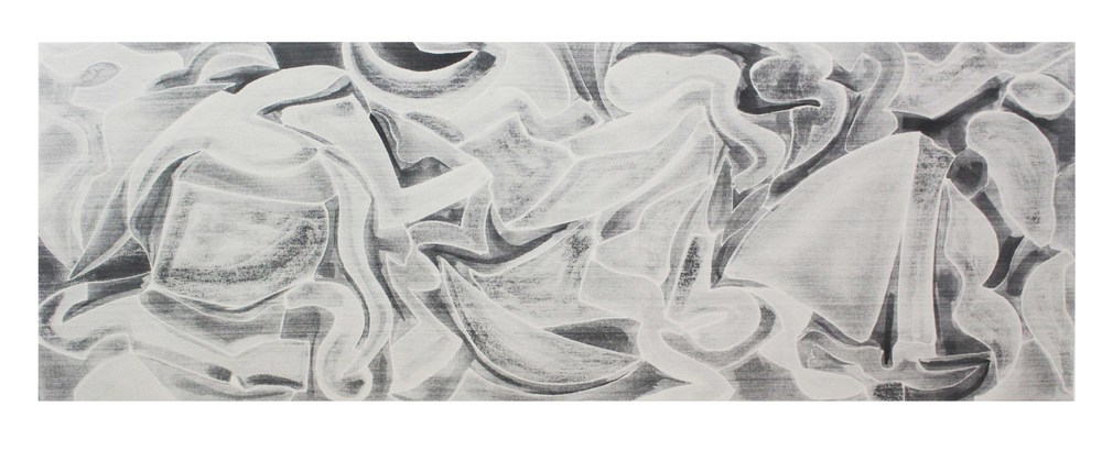 Waverider, 2016 pigment based India ink on canvas 30 x 84 inches