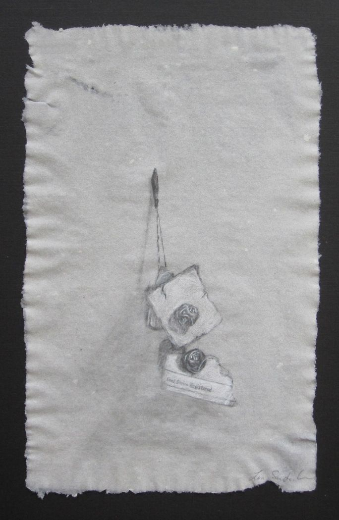 "Fragments , 2011, pencil and white charcoal on handmade abaca paper, 8"" x 5"""