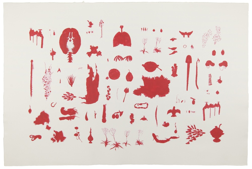"Guide, 2014, stenciled pigmented linen pulp on cotton paper, 40"" x 60"""