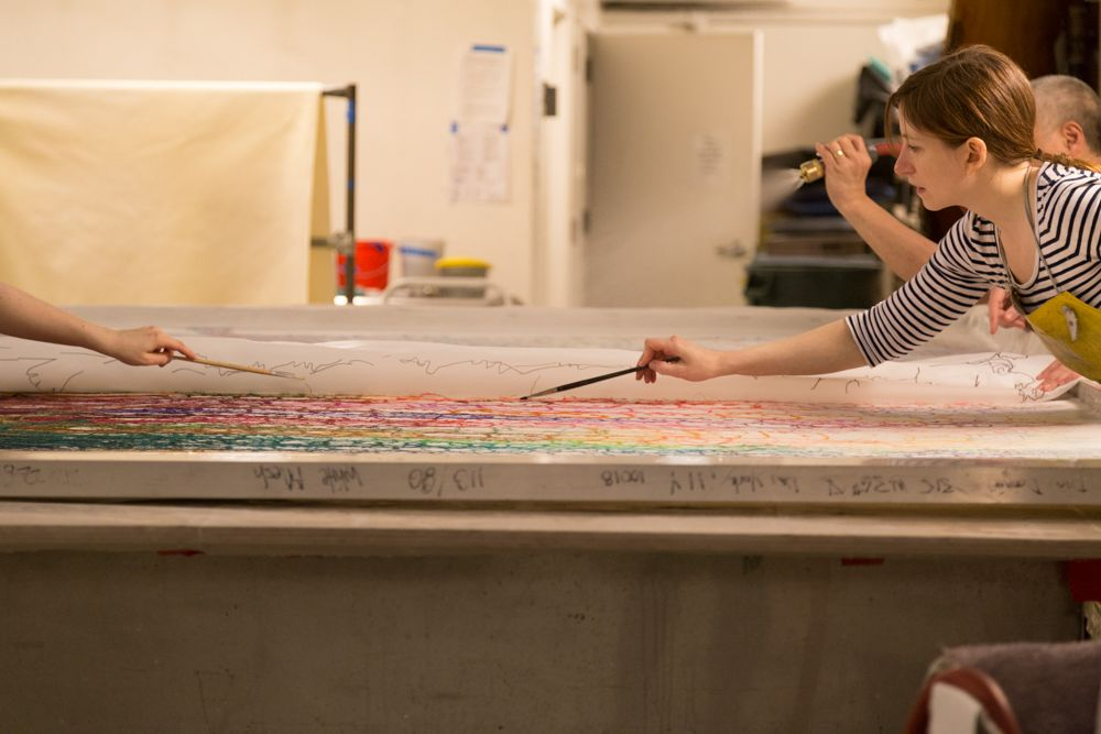At Dieu Donné, working on a 7' x 10' piece by Do Ho Suh, 2015. photo courtesy of Eléonore Simon.