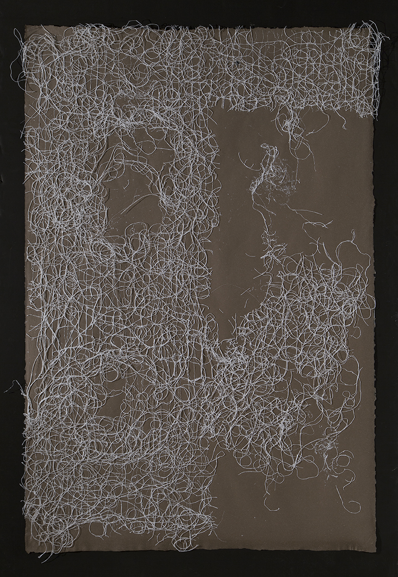 "Untitled,  2016, flax paper with jute thread, 60"" x 40"""
