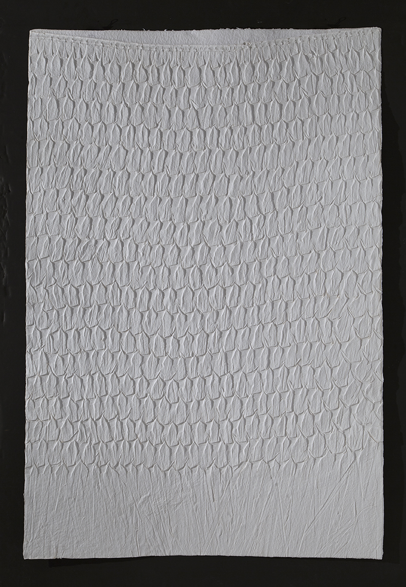 "Palm print,  2016, cast cotton paper, 60"" x 40"""