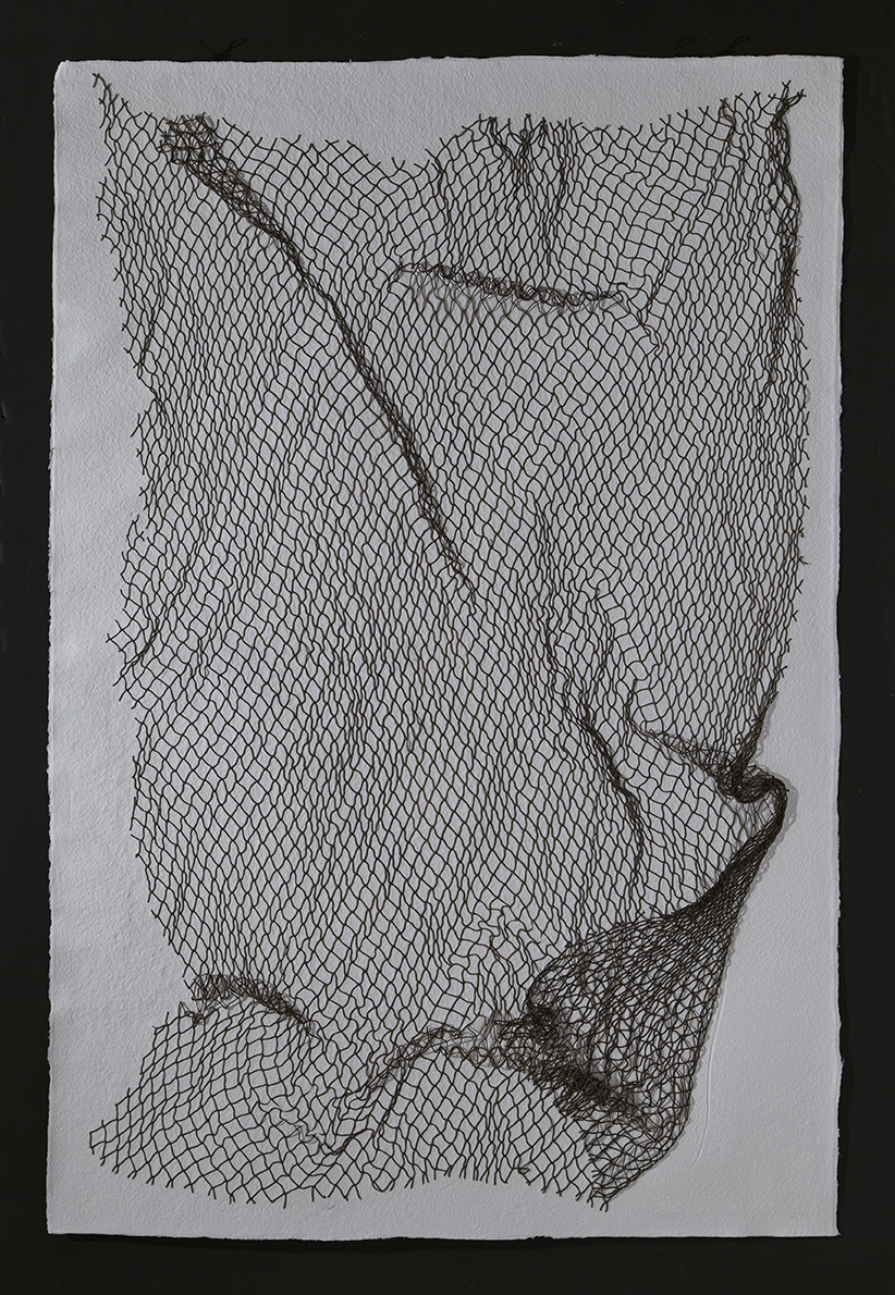 "Net,  2016, cotton paper with nylon net, 60"" x 40"""