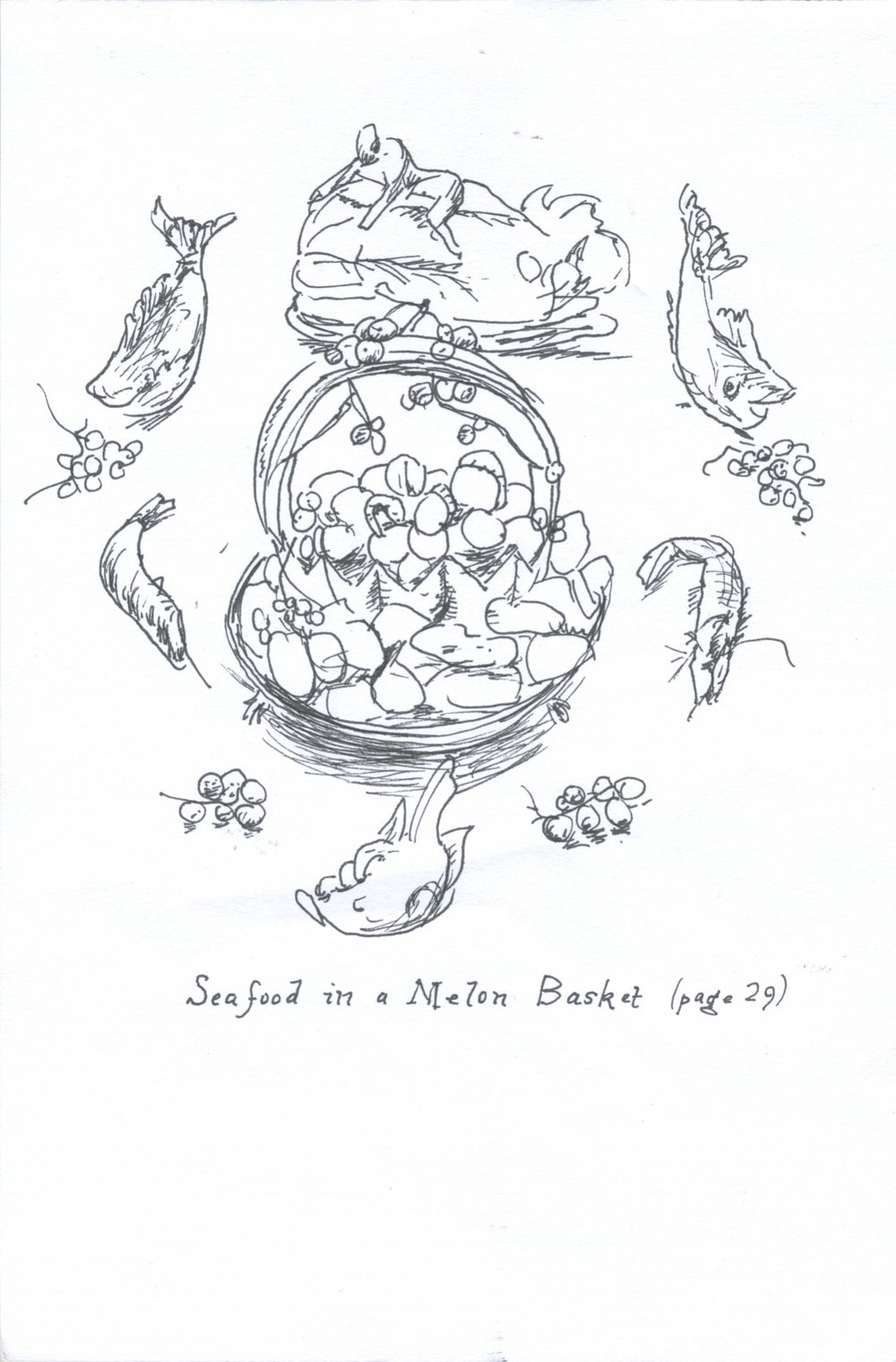 Seafood in a melon basket , 2011, ink on paper