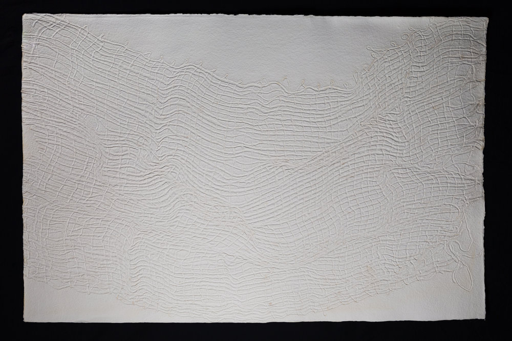 "Wave , 2017, cast cotton paper, 40"" x 60"""