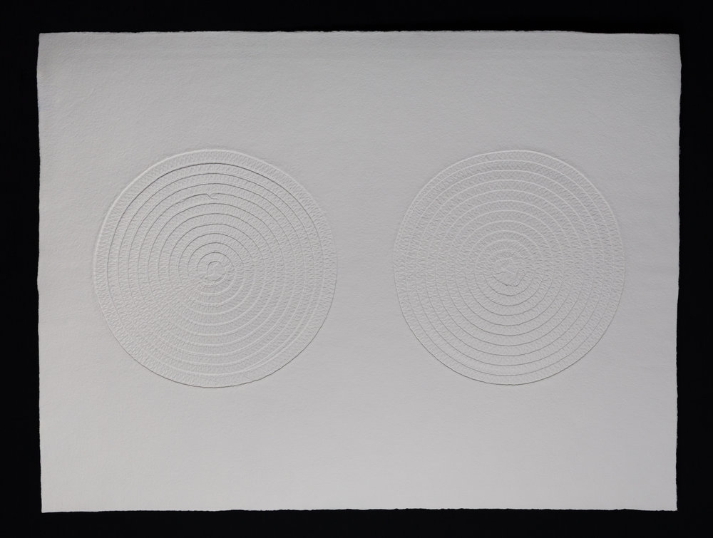 "Double , 2017, cast cotton paper, 30"" x 40"""