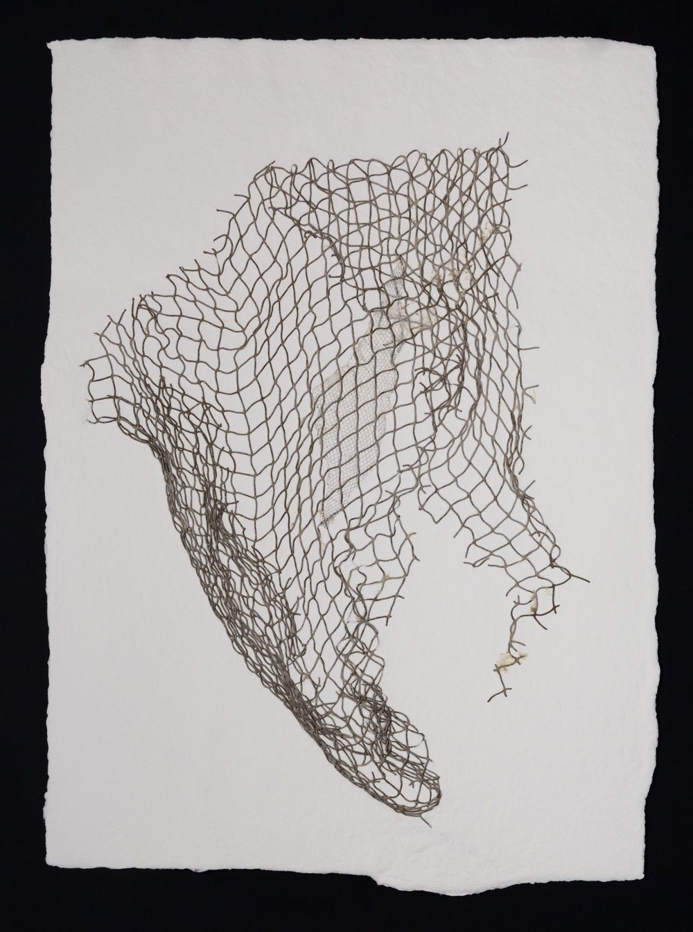"Net III , 2017, cotton paper and nylon net, 30"" x 22"""
