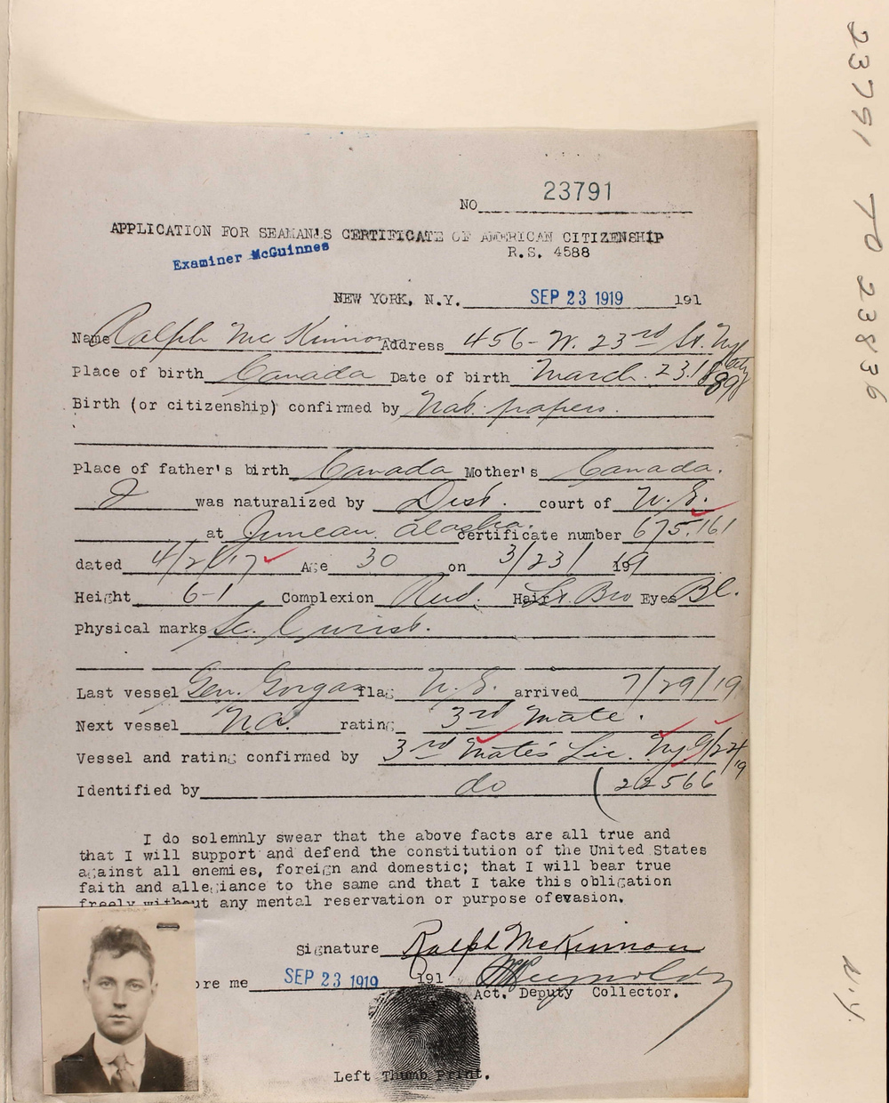 Seaman License 23 Sep 1919 for Ralph McKinnon
