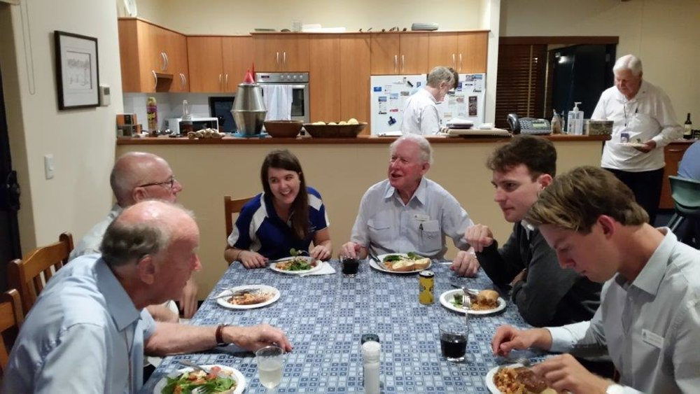 Brothers, Marist Association members and MYM members sharing a meal