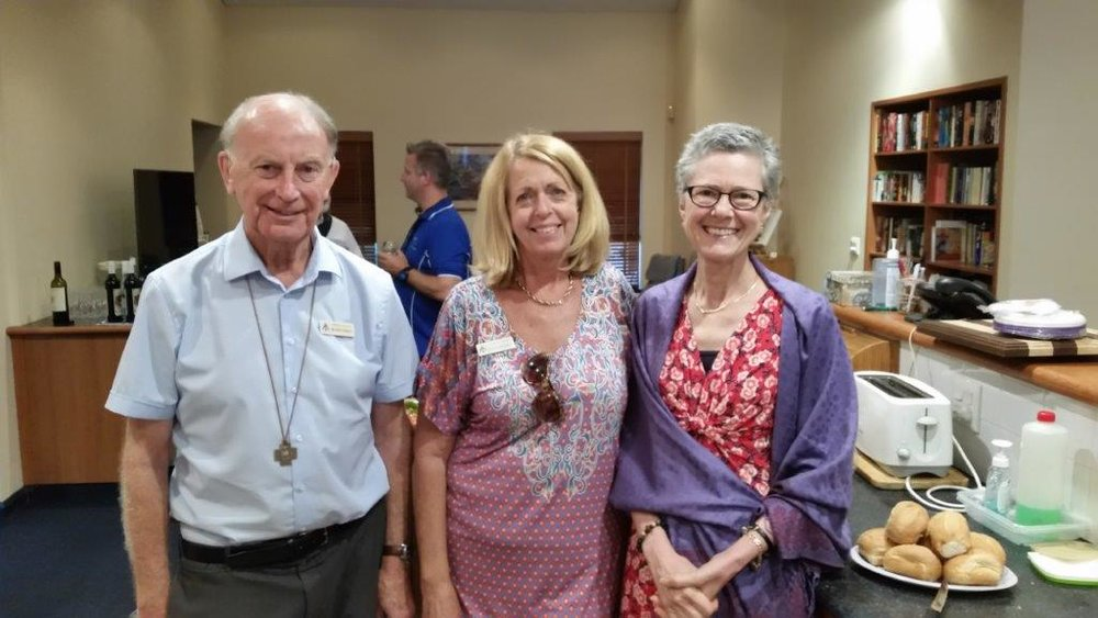 Br John Horgan with members Di Grinbergs and Liliana Bellandi at the Brothers House for refreshments