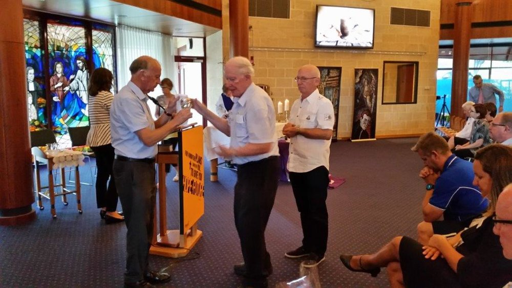 Celebrating the Eucharist. Br John Horgan, Br Terry Orrell and Member Terry Dwyer