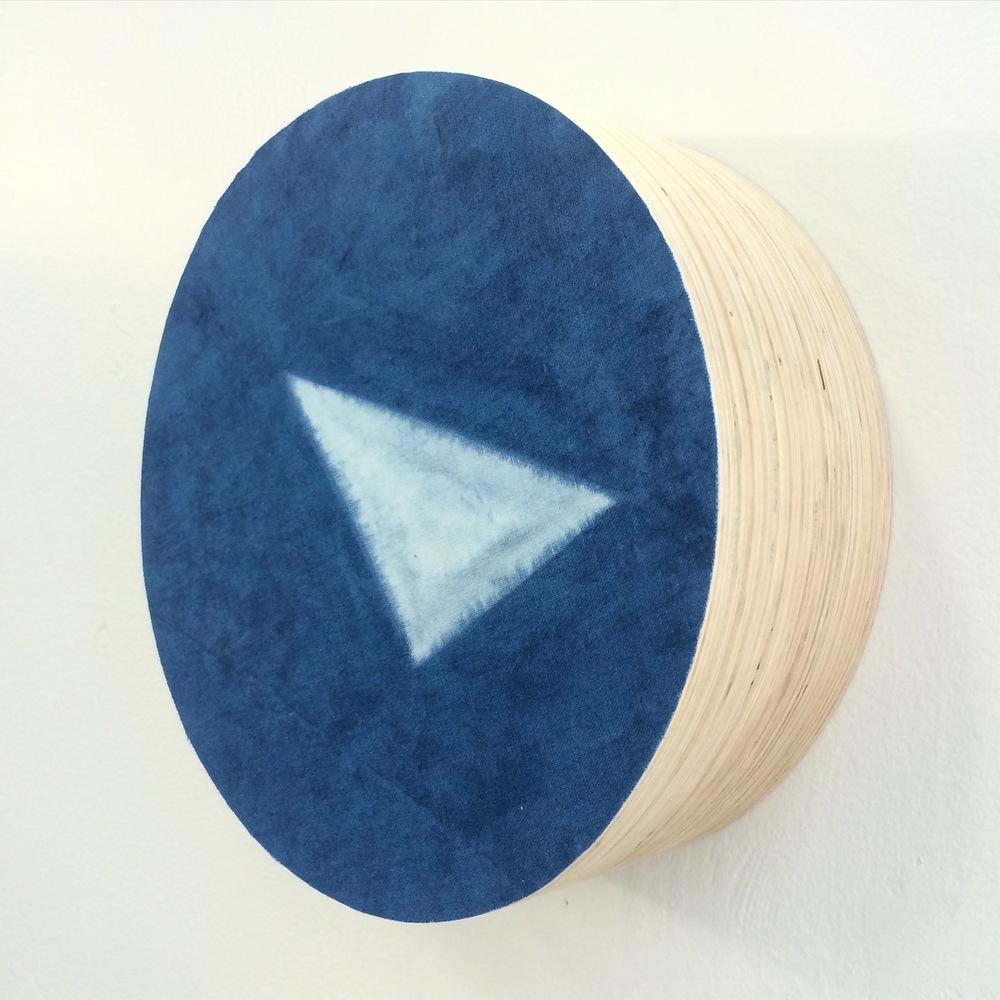 SOLD   Indigo direction #1 2015, Indigo dyed linen on layered plywood, 340mm x 340mm