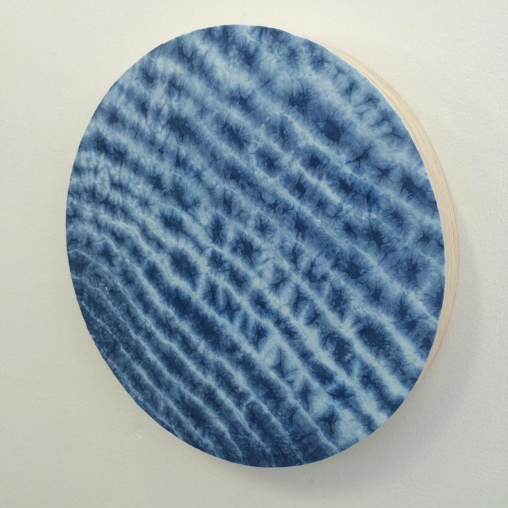 SOLD   Indigo crush #3 2015,  Indigo dyed linen on ply, 470mm x 470mm