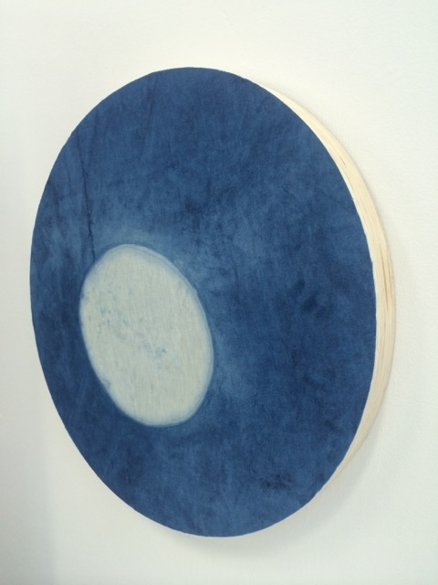 Indigo space 2015,  Indigo dyed linen on ply, 600mm x 600mm