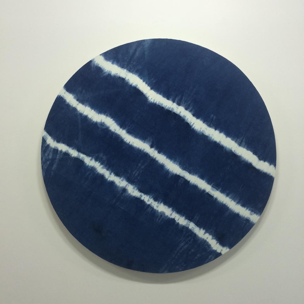 Indigo slices 2015 Indigo dyed linen on ply, 1130mm x 1130mm
